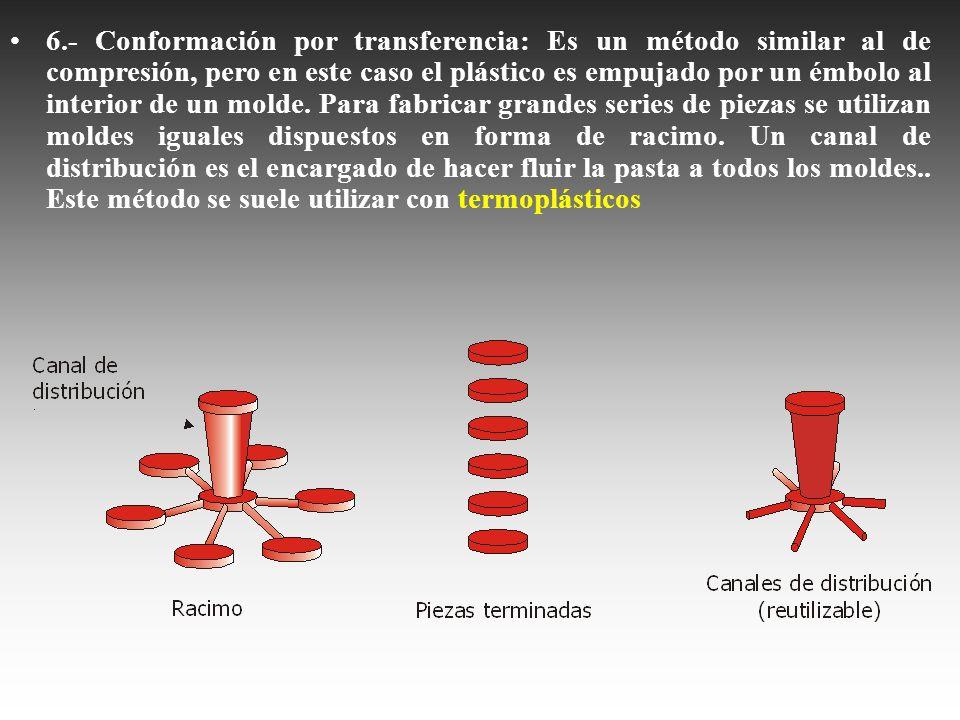 6.- Conformación por transferencia: Es un método similar al de compresión, pero en este caso el plástico es empujado por un émbolo al interior de un m