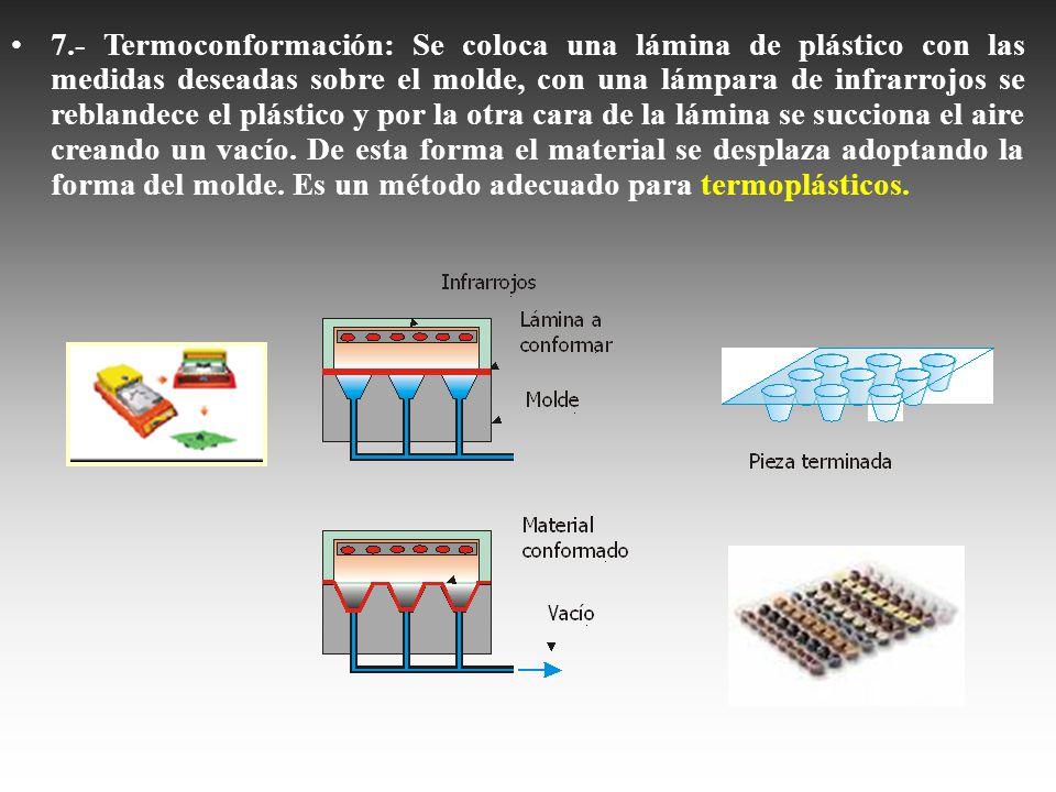 7.- Termoconformación: Se coloca una lámina de plástico con las medidas deseadas sobre el molde, con una lámpara de infrarrojos se reblandece el plást