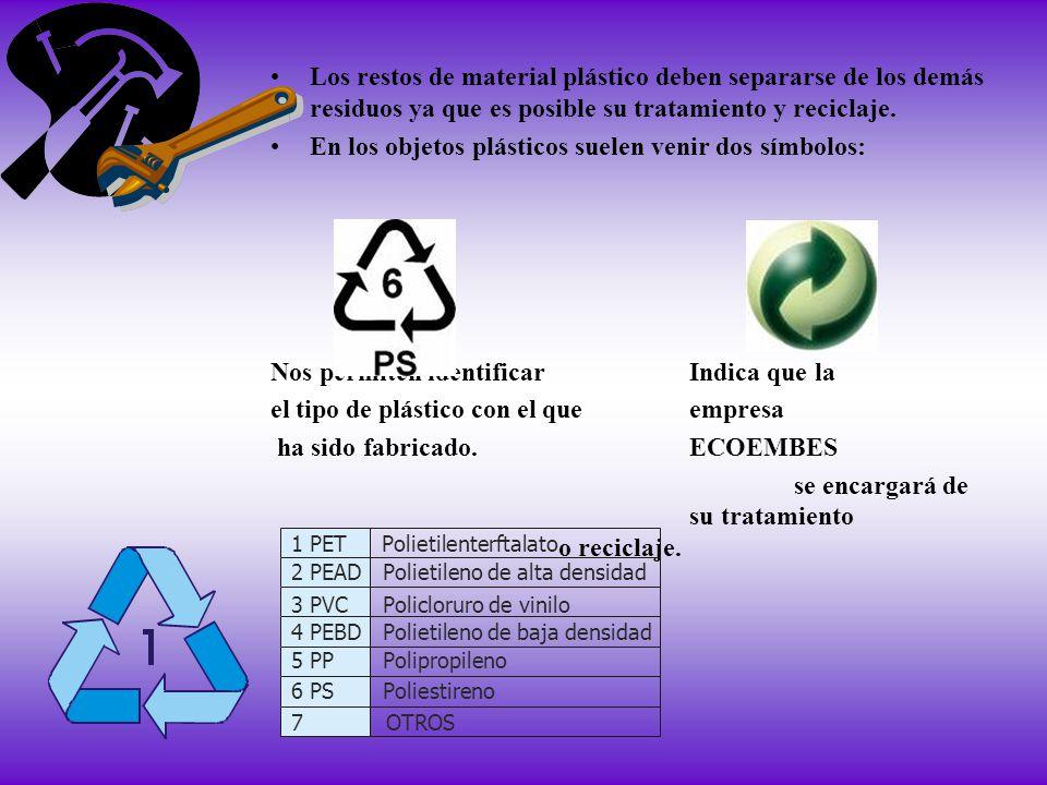 Los restos de material plástico deben separarse de los demás residuos ya que es posible su tratamiento y reciclaje. En los objetos plásticos suelen ve