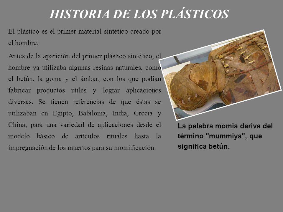 HISTORIA DE LOS PLÁSTICOS El plástico es el primer material sintético creado por el hombre. Antes de la aparición del primer plástico sintético, el ho