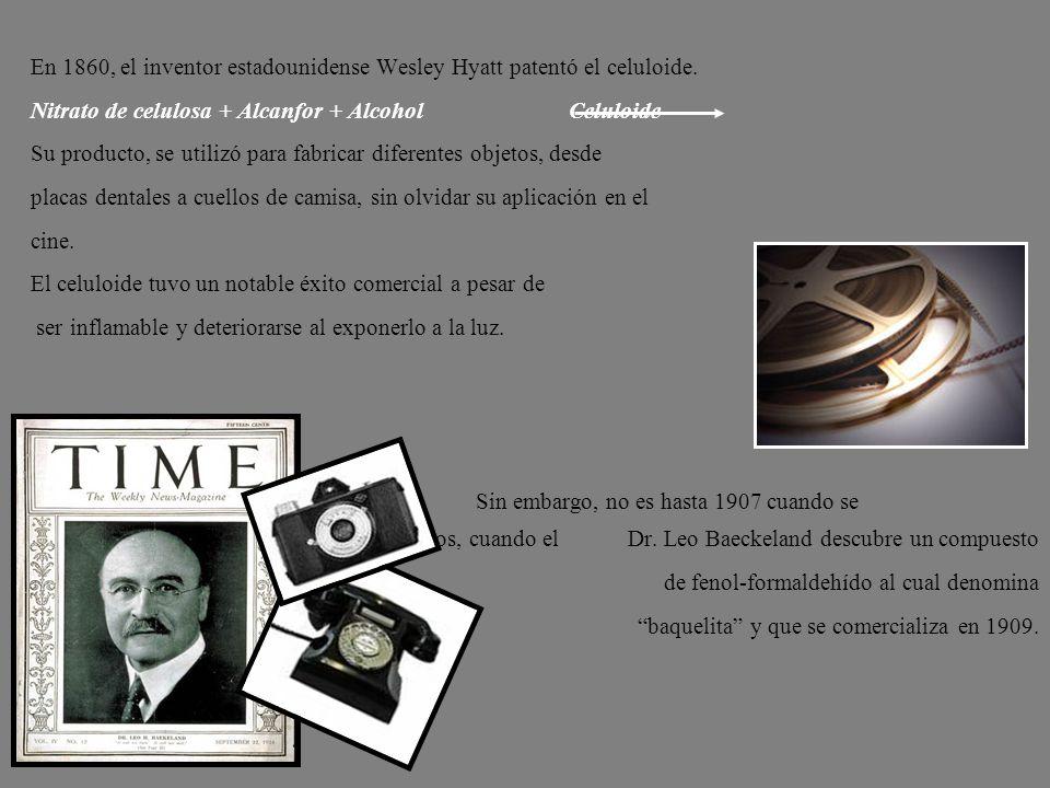 En 1860, el inventor estadounidense Wesley Hyatt patentó el celuloide. Nitrato de celulosa + Alcanfor + Alcohol Celuloide Su producto, se utilizó para