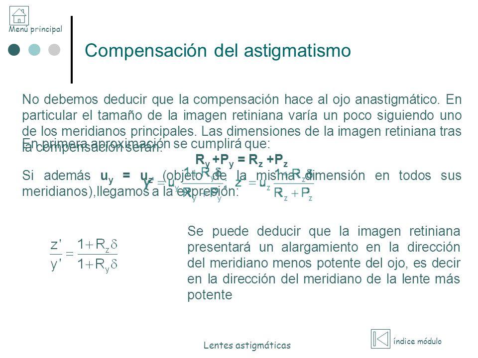 Menú principal índice módulo Lentes astigmáticas Compensación del astigmatismo No debemos deducir que la compensación hace al ojo anastigmático. En pa
