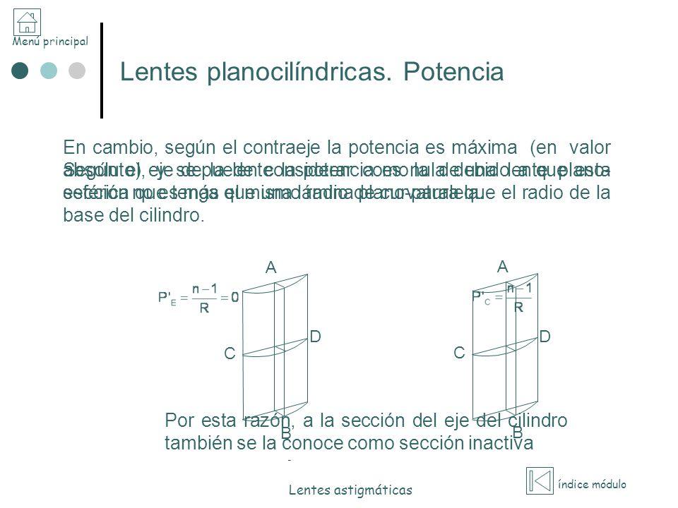 Menú principal índice módulo Lentes astigmáticas Lentes planocilíndricas. Potencia Según el eje de la lente la potencia es nula debido a que esta secc