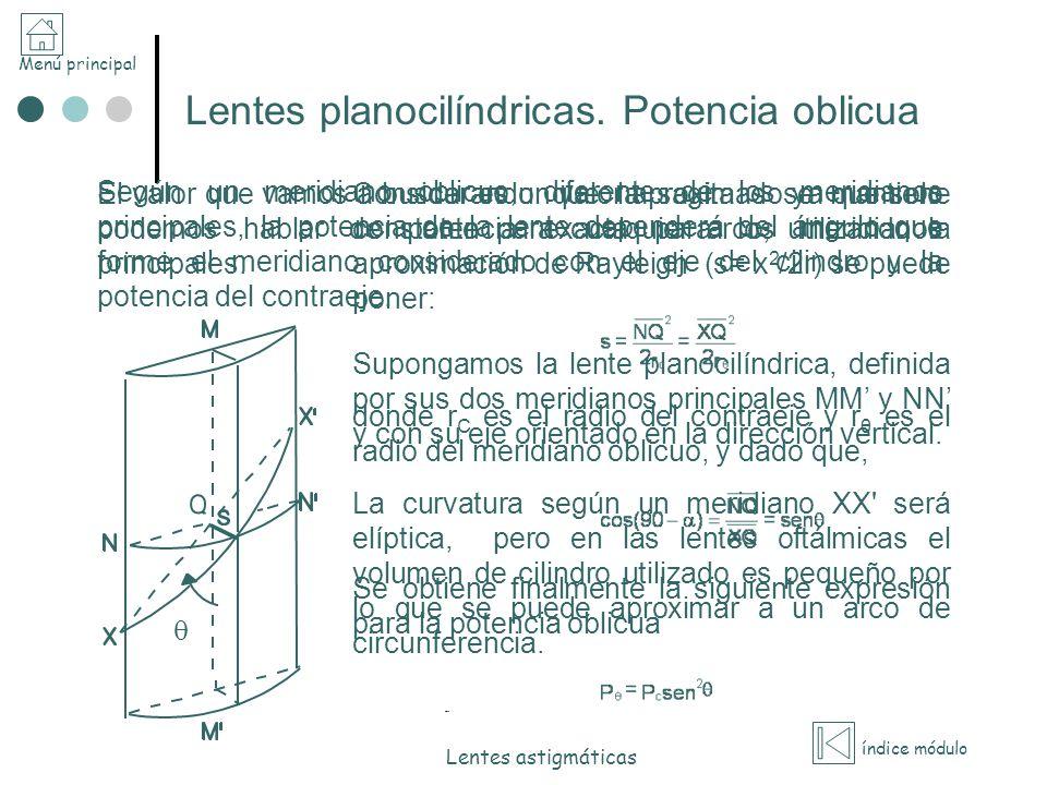 Menú principal índice módulo Lentes astigmáticas Lentes planocilíndricas. Potencia oblicua Según un meridiano oblicuo, diferente de los meridianos pri