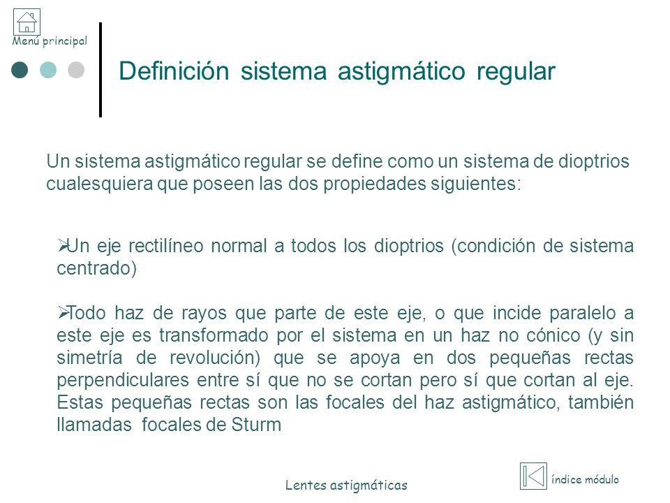 Menú principal índice módulo Lentes astigmáticas Definición sistema astigmático regular Un eje rectilíneo normal a todos los dioptrios (condición de s
