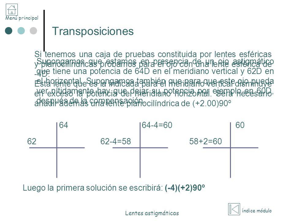 Menú principal índice módulo Lentes astigmáticas Transposiciones Supongamos que estamos en presencia de un ojo astigmático que tiene una potencia de 6