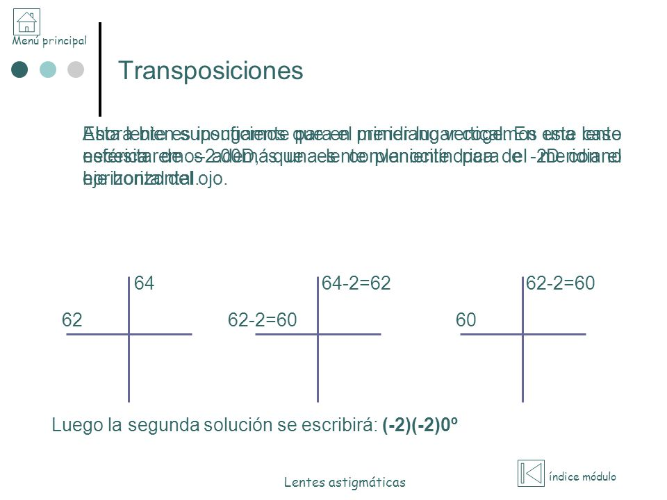 Menú principal índice módulo Lentes astigmáticas Transposiciones Ahora bien supongamos que en primer lugar cogemos una lente esférica de –2.00D, que e