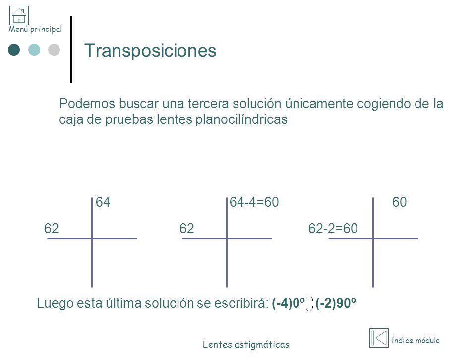 Menú principal índice módulo Lentes astigmáticas Transposiciones Podemos buscar una tercera solución únicamente cogiendo de la caja de pruebas lentes