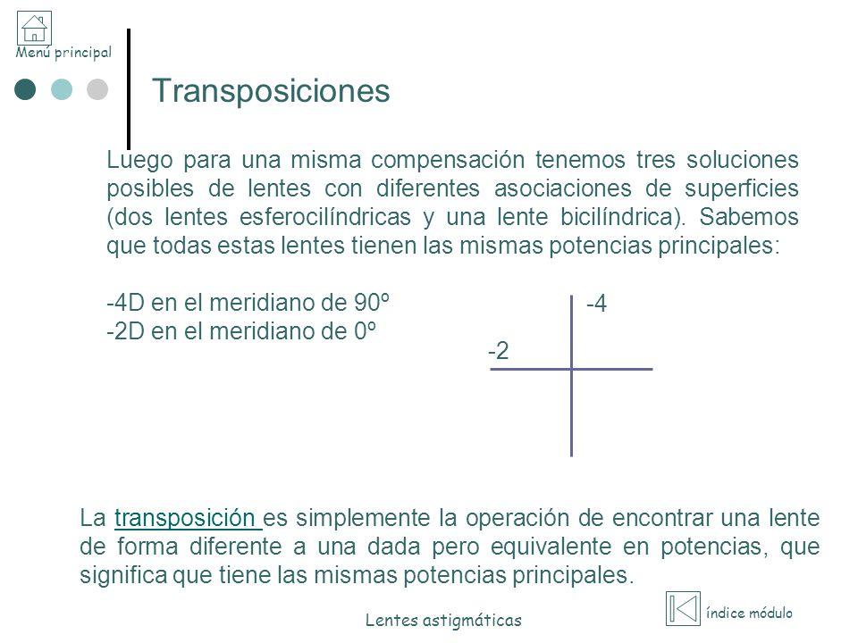 Menú principal índice módulo Lentes astigmáticas Transposiciones Luego para una misma compensación tenemos tres soluciones posibles de lentes con dife