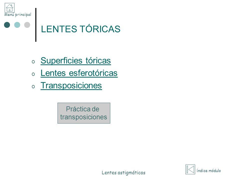 Menú principal índice módulo Lentes astigmáticas LENTES TÓRICAS o Superficies tóricas Superficies tóricas o Lentes esferotóricas Lentes esferotóricas