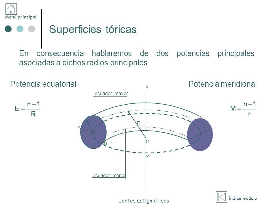 Menú principal índice módulo Lentes astigmáticas Superficies tóricas En consecuencia hablaremos de dos potencias principales asociadas a dichos radios