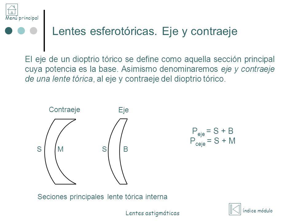 Menú principal índice módulo Lentes astigmáticas El eje de un dioptrio tórico se define como aquella sección principal cuya potencia es la base. Asimi