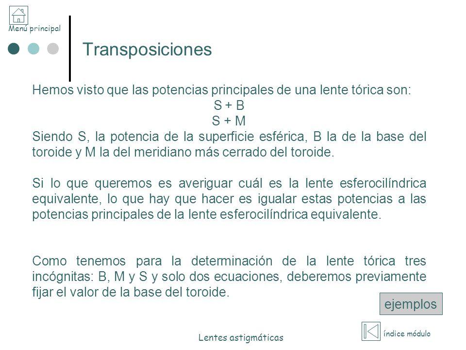 Menú principal índice módulo Lentes astigmáticas Transposiciones Hemos visto que las potencias principales de una lente tórica son: S + B S + M Siendo
