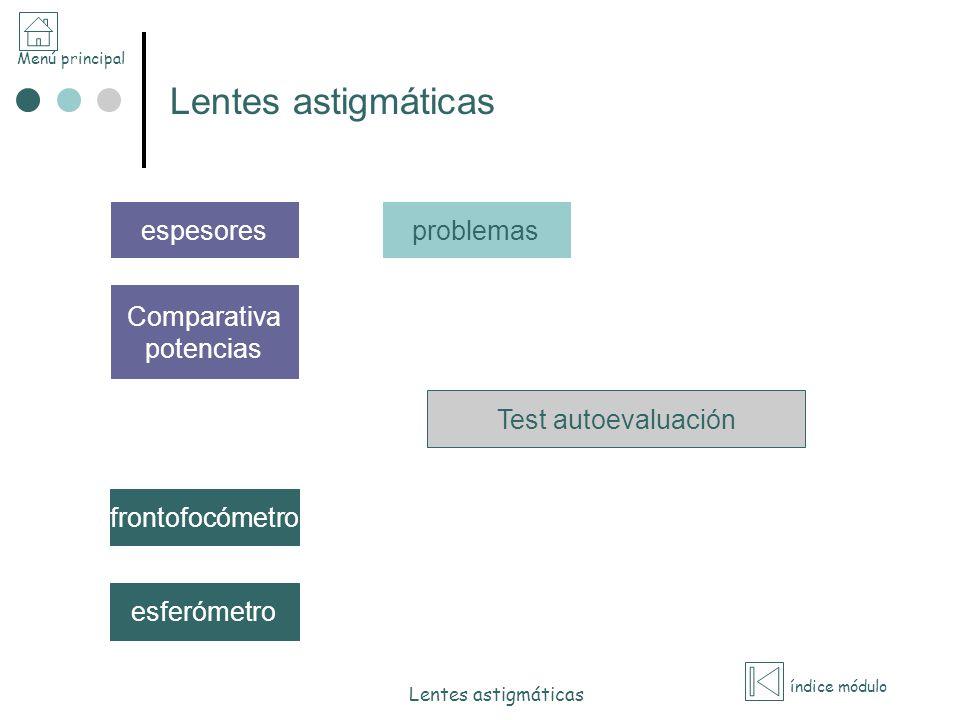 Menú principal índice módulo Lentes astigmáticas Comparativa potencias Test autoevaluación problemas frontofocómetro esferómetro espesores