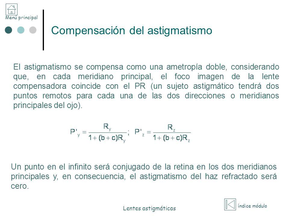 Menú principal índice módulo Lentes astigmáticas Compensación del astigmatismo El astigmatismo se compensa como una ametropía doble, considerando que,