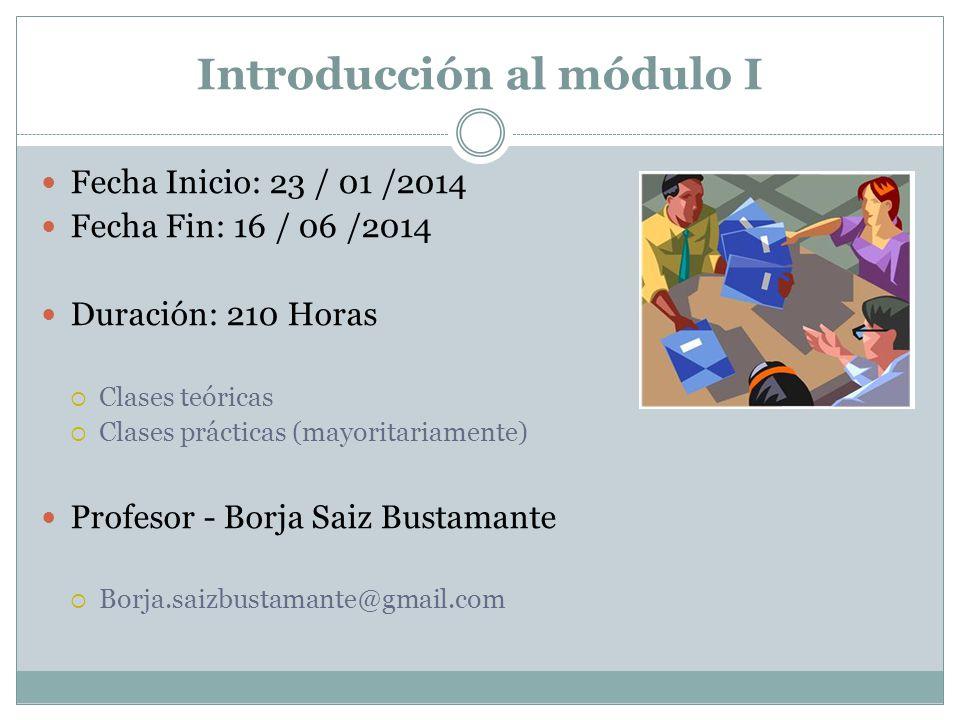 Introducción al módulo I Fecha Inicio: 23 / 01 /2014 Fecha Fin: 16 / 06 /2014 Duración: 210 Horas Clases teóricas Clases prácticas (mayoritariamente)