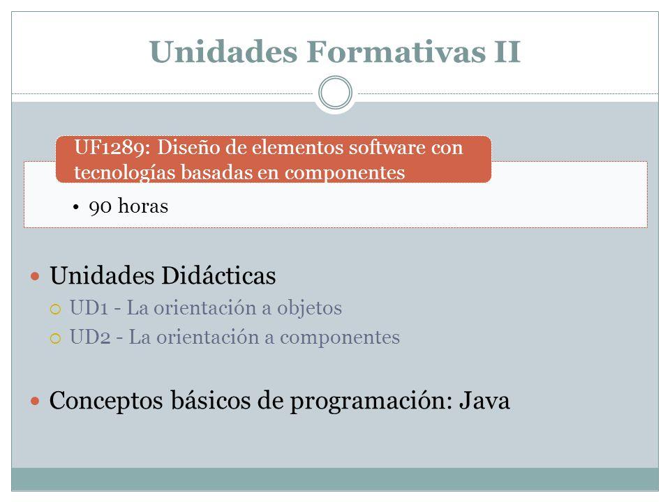 Unidades Formativas III Unidades Didácticas UD1 – Desarrollo de Componentes UD2 – Componentes Distribuidos UD3 – Despliegue de Componentes Distribuidos Programación básica en la web 90 horas UF1290: Implementación e integración de elementos software con tecnologías basadas en componentes