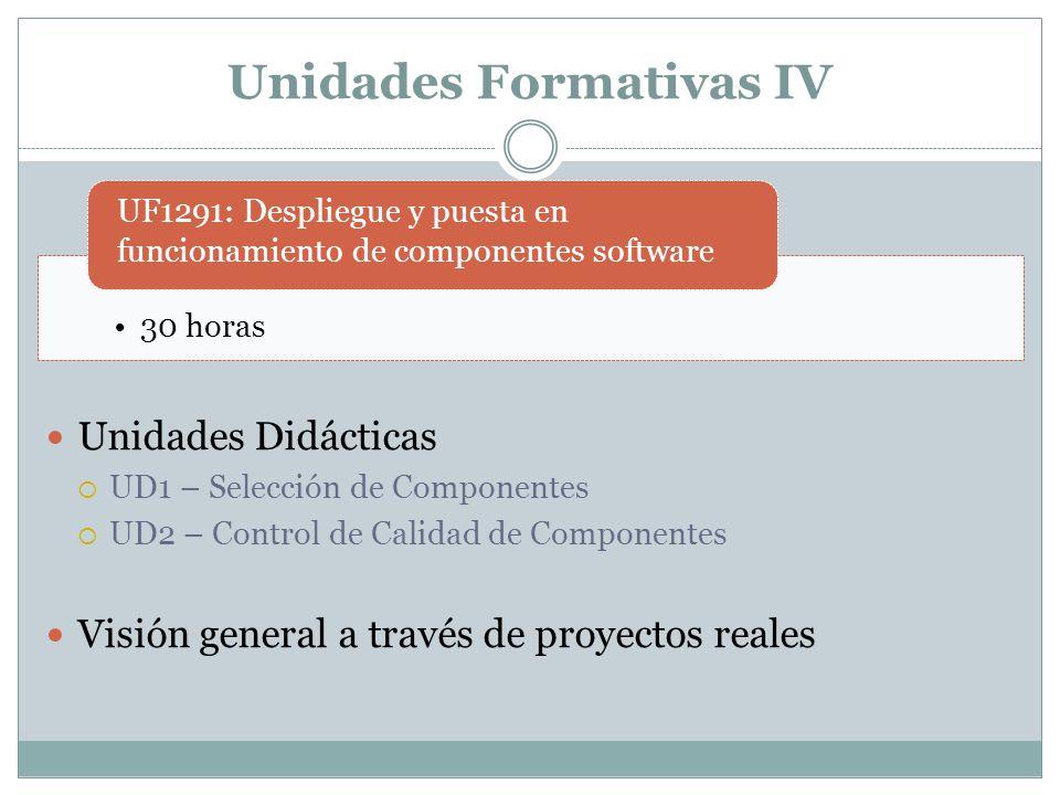 Unidades Formativas IV Unidades Didácticas UD1 – Selección de Componentes UD2 – Control de Calidad de Componentes Visión general a través de proyectos