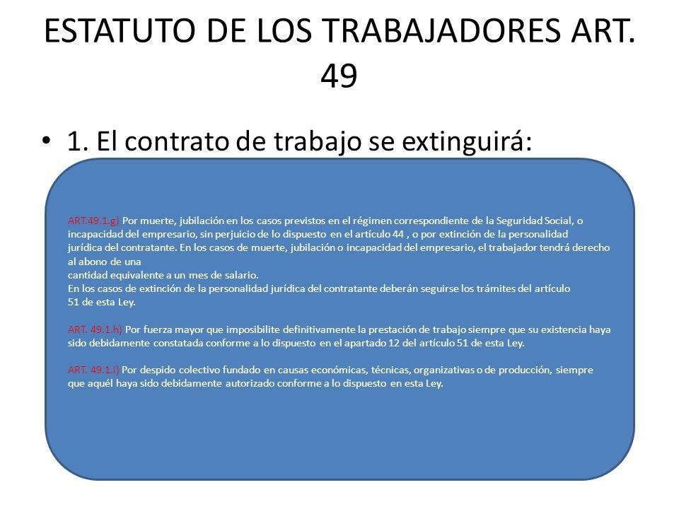 ESTATUTO DE LOS TRABAJADORES ART.49 1.