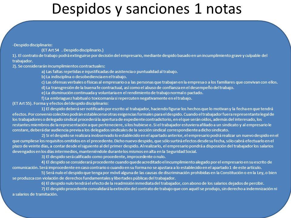 Despidos y sanciones 1 notas -Despido disciplinario: (ET Art 54.