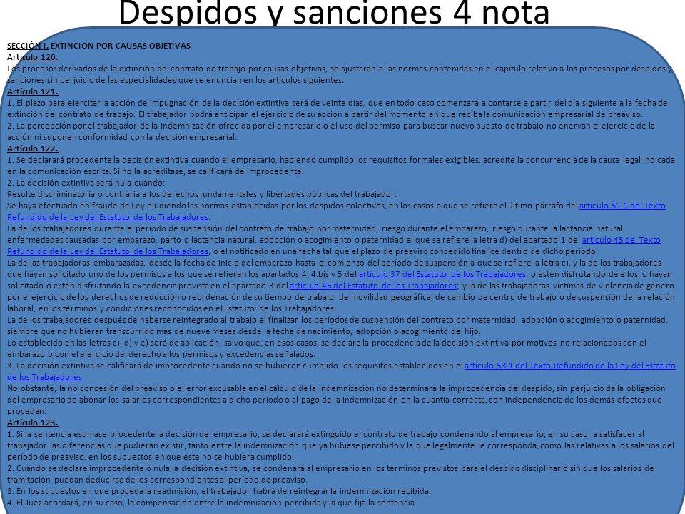 Despidos y sanciones 4 nota Despidos y sanciones SECCIÓN I.