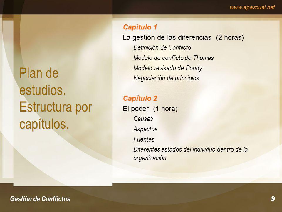 www.apascual.net Gestión de Conflictos10 Plan de estudios.