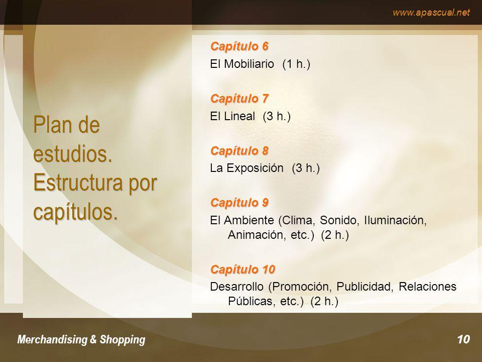 www.apascual.net Merchandising & Shopping10 Plan de estudios. Estructura por capítulos. Capítulo 6 El Mobiliario (1 h.) Capítulo 7 El Lineal (3 h.) Ca