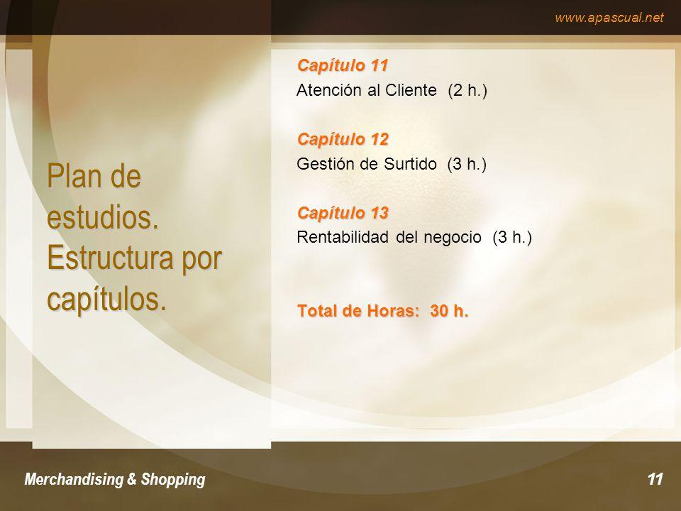 www.apascual.net Merchandising & Shopping11 Plan de estudios. Estructura por capítulos. Capítulo 11 Atención al Cliente (2 h.) Capítulo 12 Gestión de