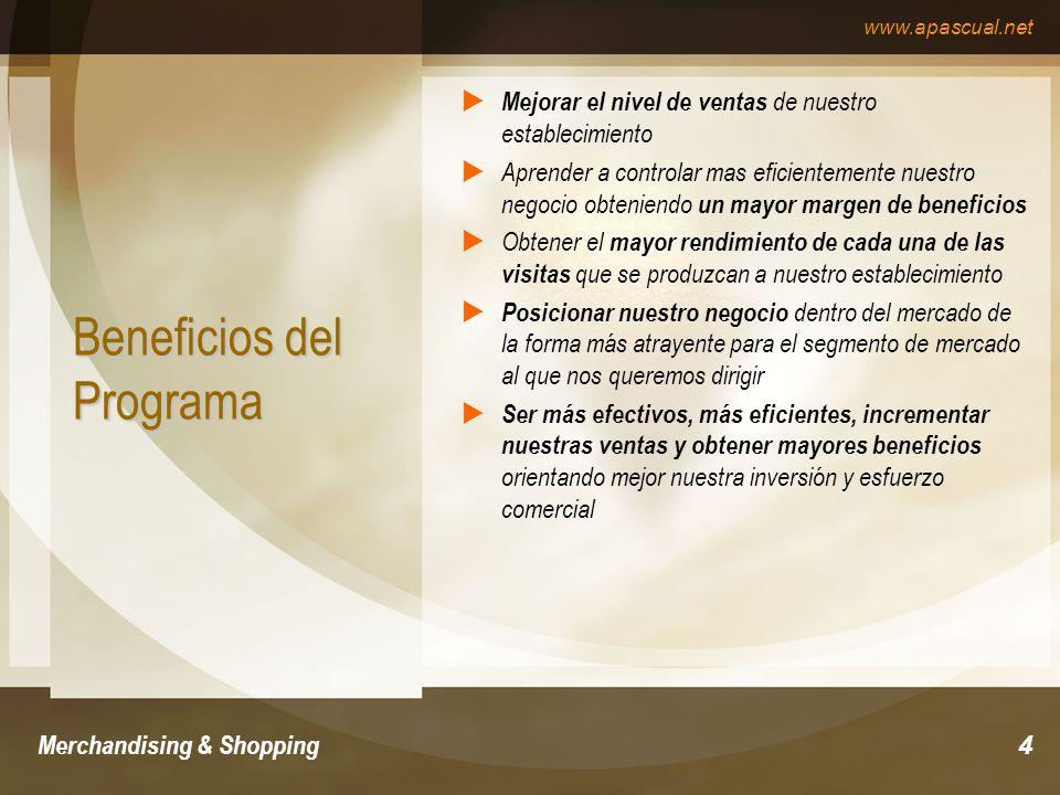 www.apascual.net Merchandising & Shopping5 Extensión del Programa Merchandising & Shopping El programa de Merchandising & Shopping es de tiempo Parcial y se puede adaptar tanto a los horarios de comerciantes en activo, permitiendo el ejercicio de la profesión, como a los de potenciales emprendedores que deseen formarse antes de entrar en el mercado.