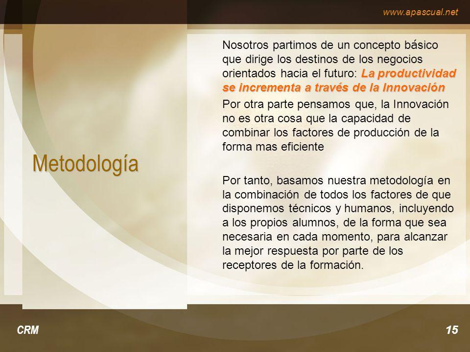www.apascual.net CRM15 Metodología La productividad se incrementa a través de la Innovación Nosotros partimos de un concepto b á sico que dirige los d
