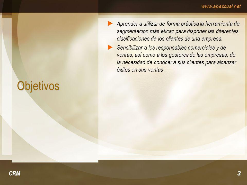 www.apascual.net CRM3 Objetivos Aprender a utilizar de forma práctica la herramienta de segmentación más eficaz para disponer las diferentes clasifica