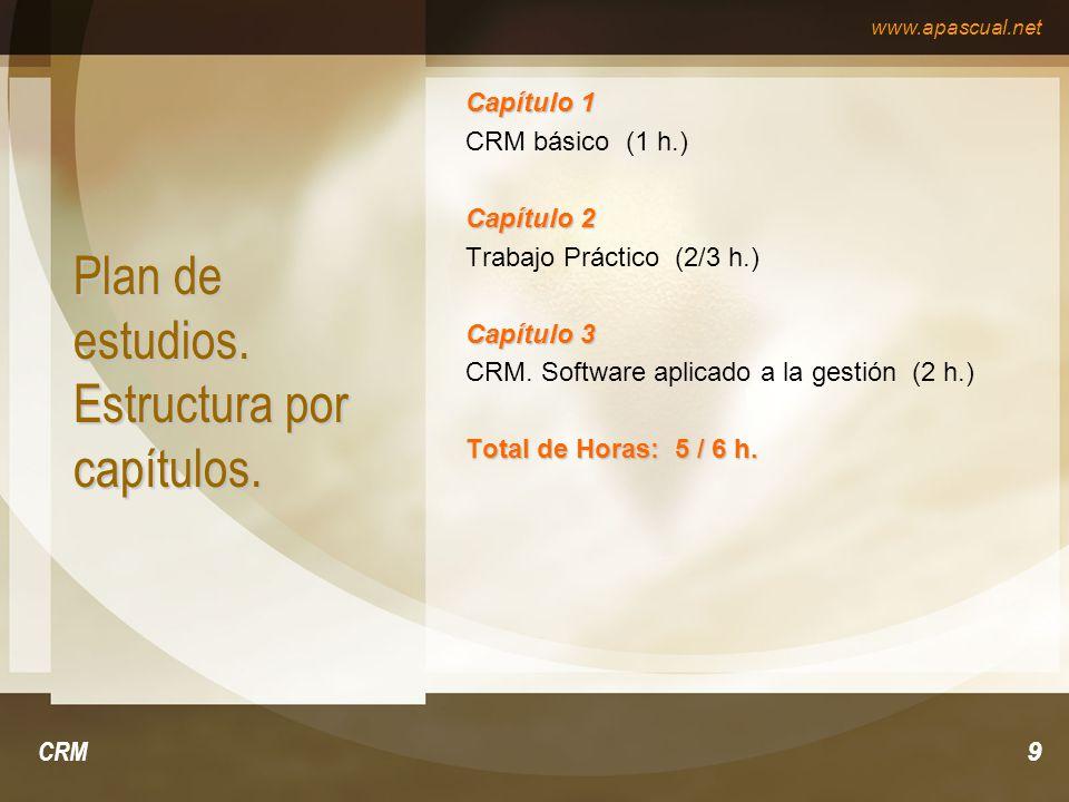 www.apascual.net CRM9 Plan de estudios. Estructura por capítulos. Capítulo 1 CRM básico (1 h.) Capítulo 2 Trabajo Práctico (2/3 h.) Capítulo 3 CRM. So