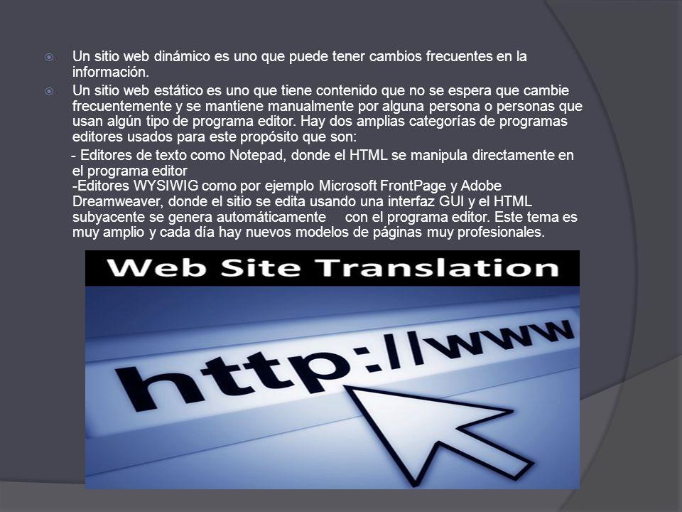 Un sitio web dinámico es uno que puede tener cambios frecuentes en la información. Un sitio web estático es uno que tiene contenido que no se espera q