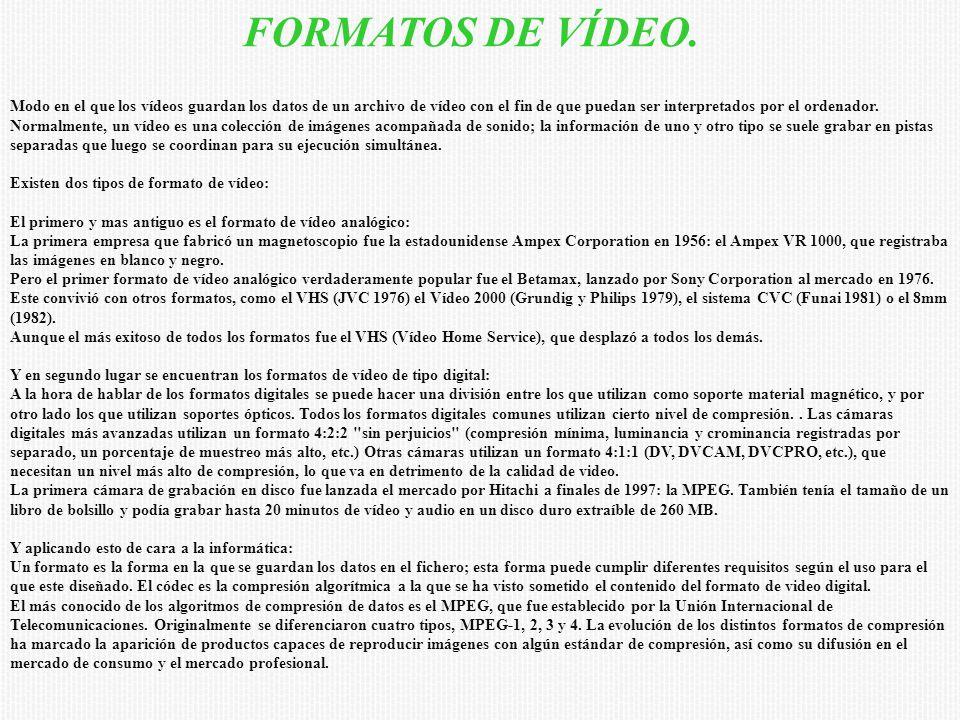 FORMATOS DE VÍDEO. Modo en el que los vídeos guardan los datos de un archivo de vídeo con el fin de que puedan ser interpretados por el ordenador. Nor