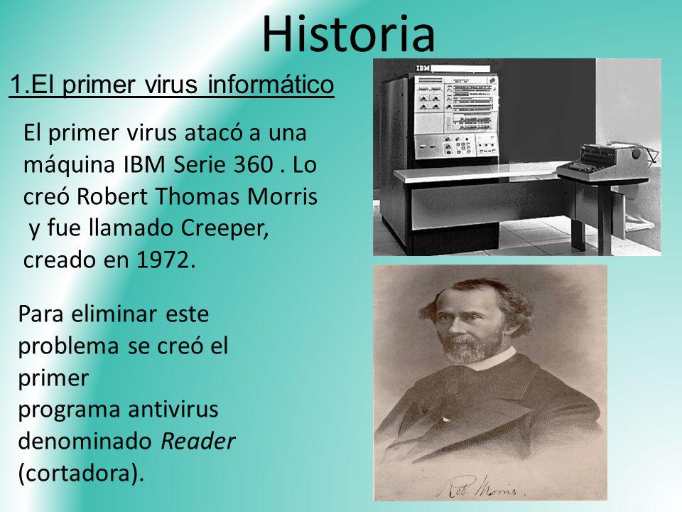 Historia 1.El primer virus informático El primer virus atacó a una máquina IBM Serie 360. Lo creó Robert Thomas Morris y fue llamado Creeper, creado e