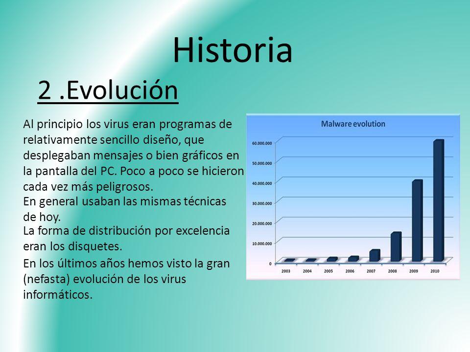 Historia 2.Evolución Al principio los virus eran programas de relativamente sencillo diseño, que desplegaban mensajes o bien gráficos en la pantalla d