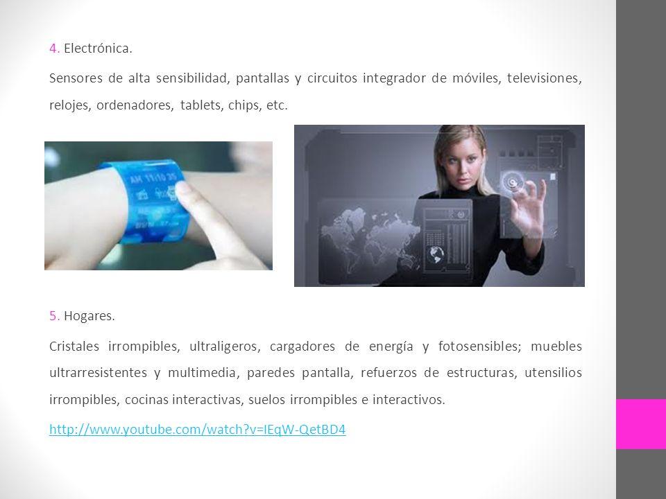 4. Electrónica. Sensores de alta sensibilidad, pantallas y circuitos integrador de móviles, televisiones, relojes, ordenadores, tablets, chips, etc. 5