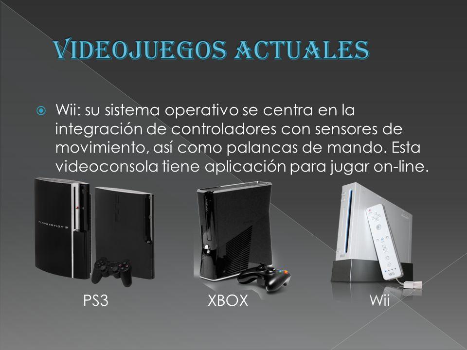 Wii: su sistema operativo se centra en la integración de controladores con sensores de movimiento, así como palancas de mando. Esta videoconsola tiene