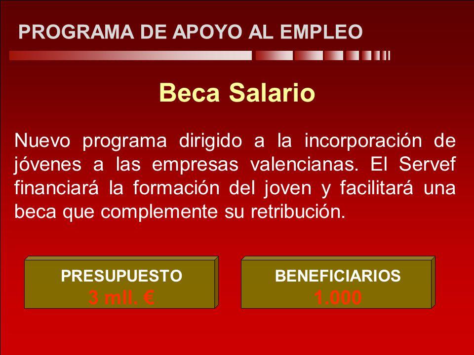 PROGRAMA DE APOYO AL EMPLEO Beca Salario Nuevo programa dirigido a la incorporación de jóvenes a las empresas valencianas. El Servef financiará la for