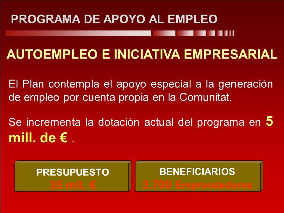 PROGRAMA DE APOYO AL EMPLEO AUTOEMPLEO E INICIATIVA EMPRESARIAL El Plan contempla el apoyo especial a la generación de empleo por cuenta propia en la Comunitat.