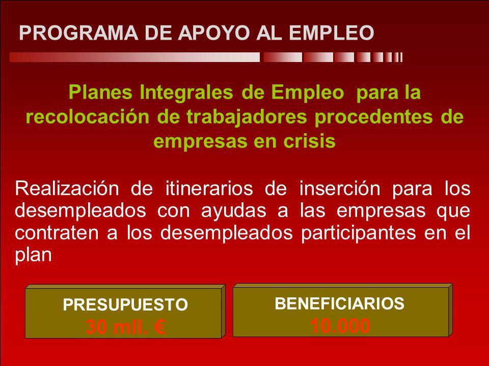 PROGRAMA DE APOYO AL EMPLEO Planes Integrales de Empleo para la recolocación de trabajadores procedentes de empresas en crisis Realización de itinerar