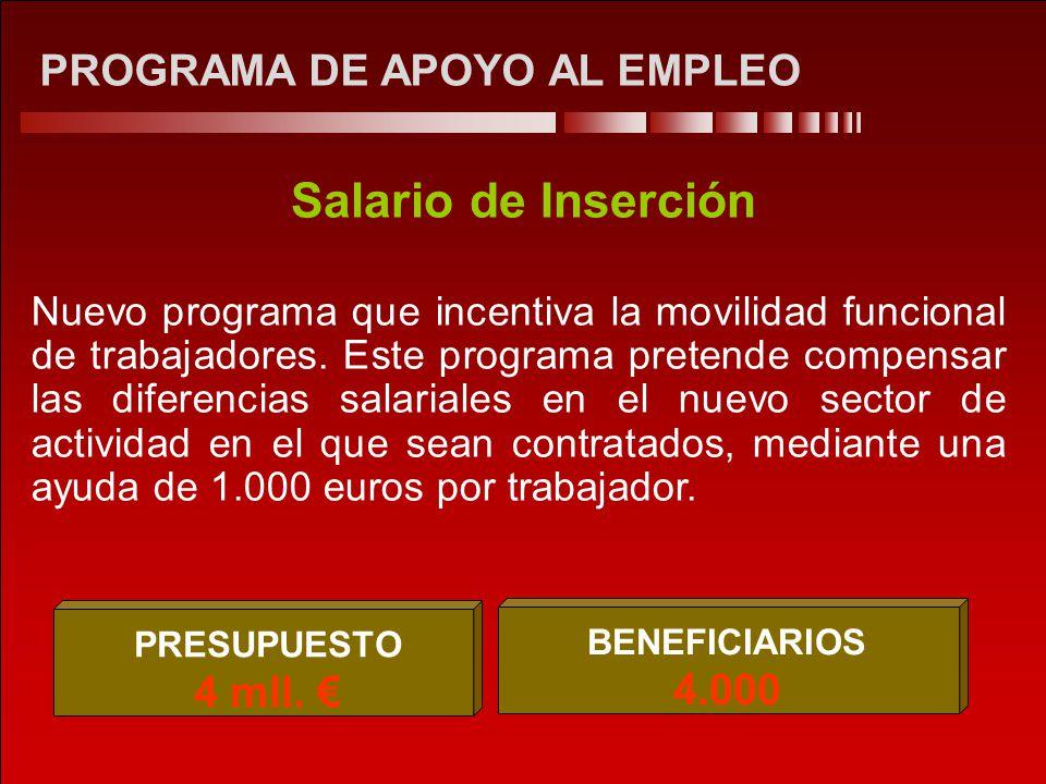 PROGRAMA DE APOYO AL EMPLEO Salario de Inserción Nuevo programa que incentiva la movilidad funcional de trabajadores.