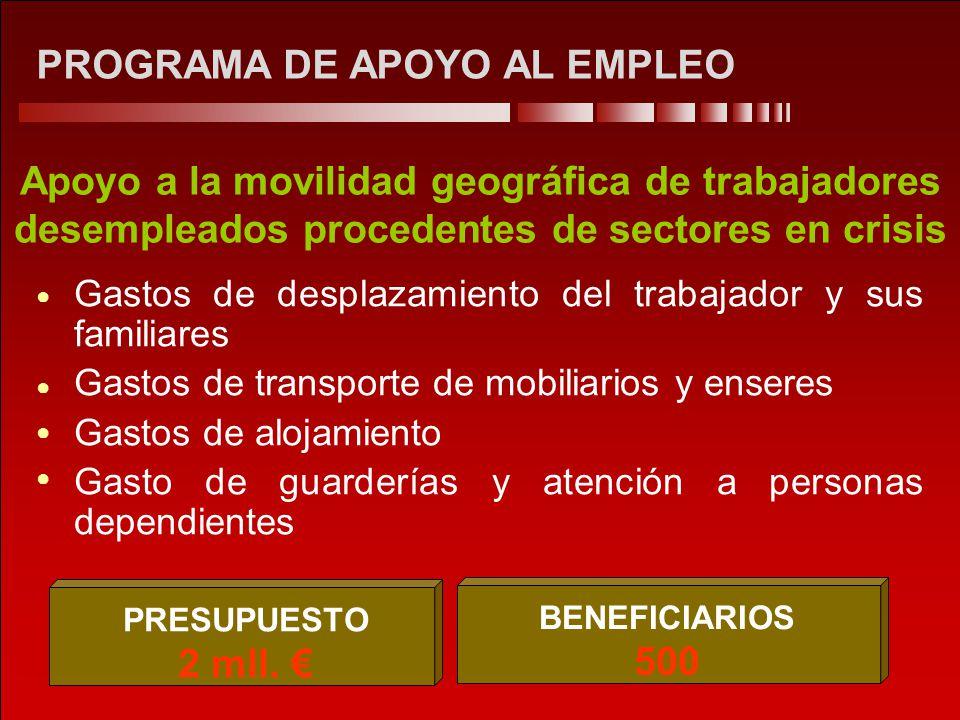 PROGRAMA DE APOYO AL EMPLEO Apoyo a la movilidad geográfica de trabajadores desempleados procedentes de sectores en crisis Gastos de desplazamiento de