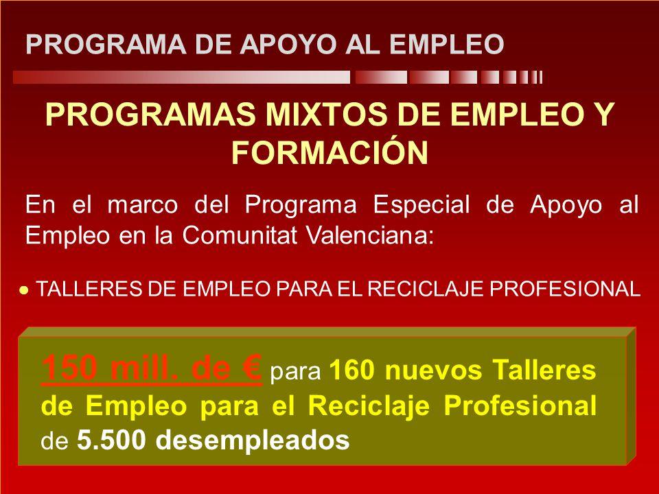 PROGRAMA DE APOYO AL EMPLEO PROGRAMAS MIXTOS DE EMPLEO Y FORMACIÓN En el marco del Programa Especial de Apoyo al Empleo en la Comunitat Valenciana: 15