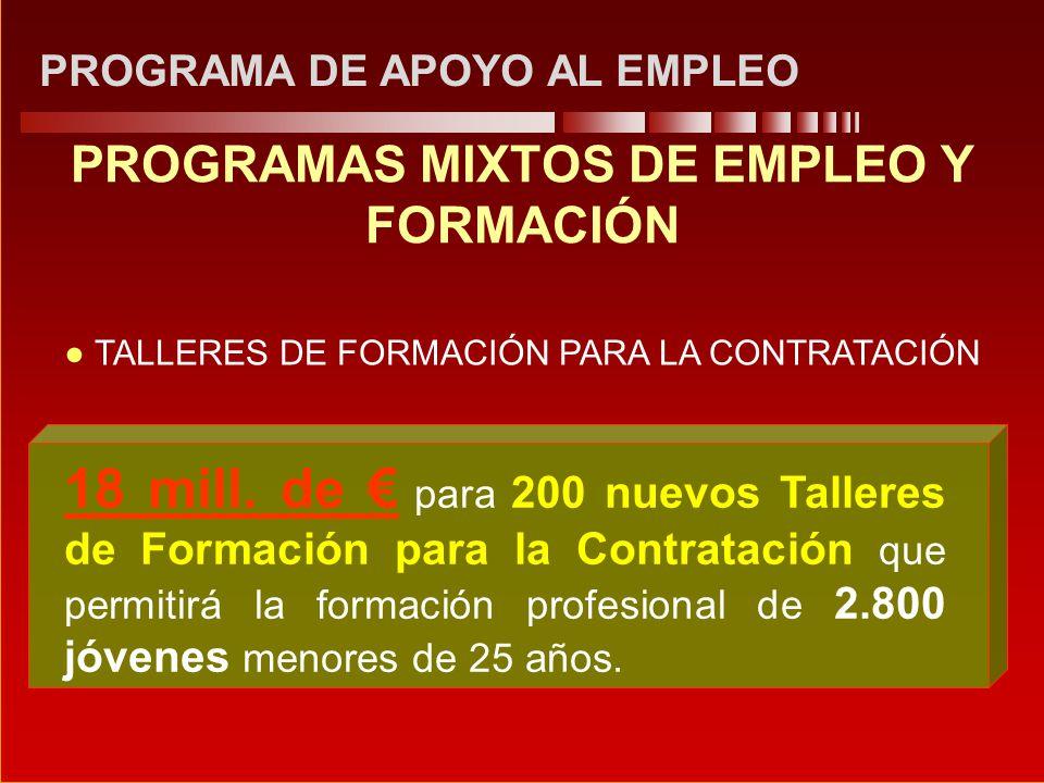 PROGRAMA DE APOYO AL EMPLEO PROGRAMAS MIXTOS DE EMPLEO Y FORMACIÓN 18 mill. de para 200 nuevos Talleres de Formación para la Contratación que permitir