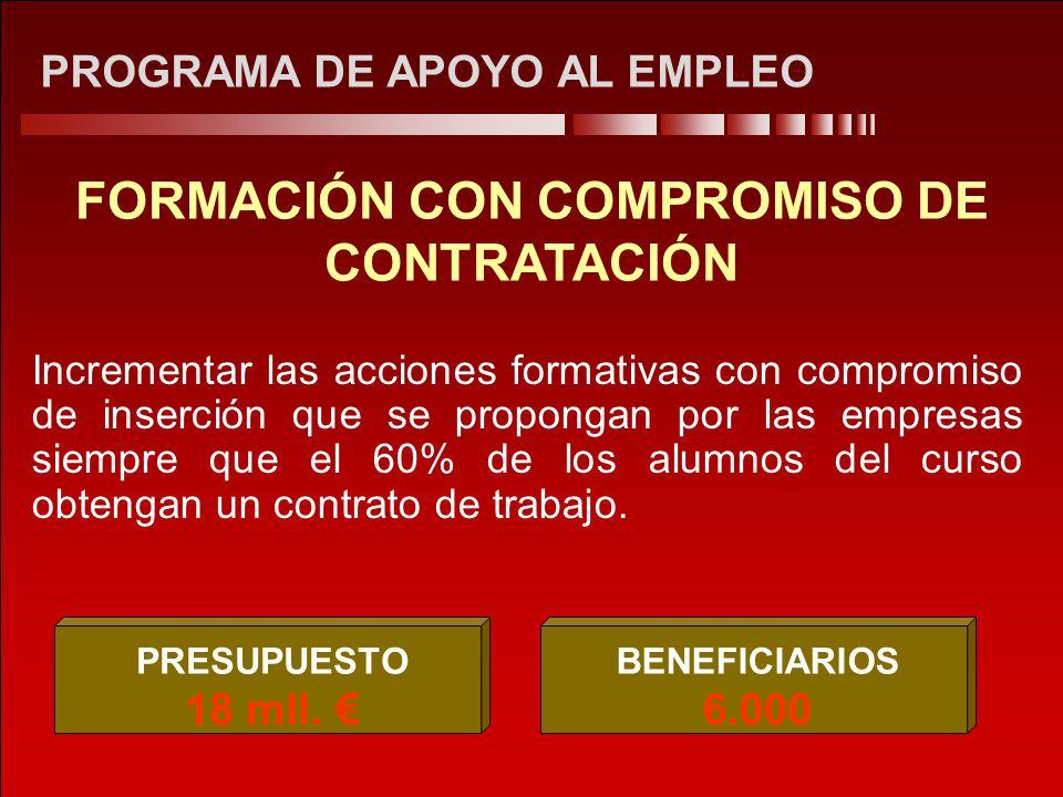PROGRAMA DE APOYO AL EMPLEO FORMACIÓN CON COMPROMISO DE CONTRATACIÓN Incrementar las acciones formativas con compromiso de inserción que se propongan