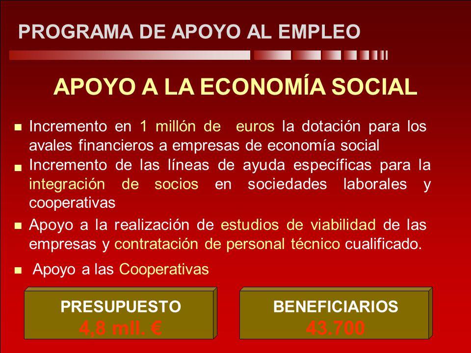 PROGRAMA DE APOYO AL EMPLEO APOYO A LA ECONOMÍA SOCIAL Apoyo a las Cooperativas Incremento en 1 millón de euros la dotación para los avales financiero