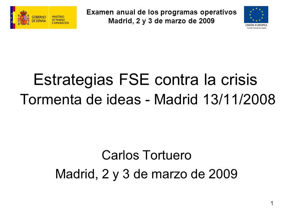 Examen anual de los programas operativos Madrid, 2 y 3 de marzo de 2009 1 Estrategias FSE contra la crisis Tormenta de ideas - Madrid 13/11/2008 Carlos Tortuero Madrid, 2 y 3 de marzo de 2009