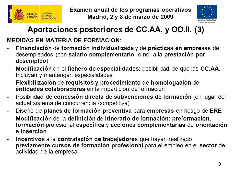 Examen anual de los programas operativos Madrid, 2 y 3 de marzo de 2009 10 MEDIDAS EN MATERIA DE FORMACIÓN: -Financiación de formación individualizada y de prácticas en empresas de desempleados (con salario complementario -o no- a la prestación por desempleo) -Modificación en el fichero de especialidades: posibilidad de que las CC.AA.
