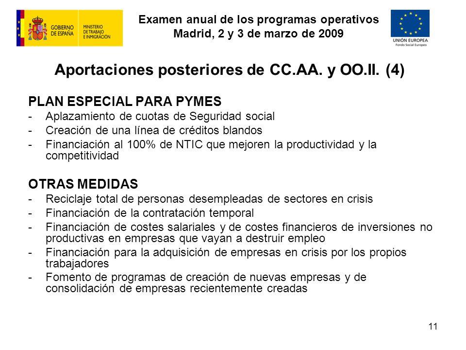 Examen anual de los programas operativos Madrid, 2 y 3 de marzo de 2009 11 Aportaciones posteriores de CC.AA. y OO.II. (4) PLAN ESPECIAL PARA PYMES -A
